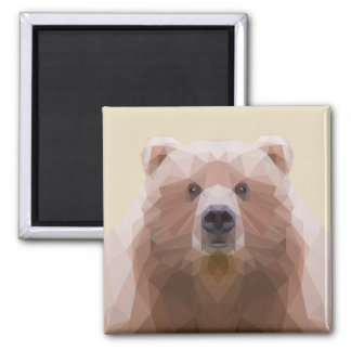 Low poly bear, beige magnet