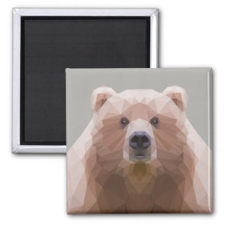 Low poly bear, grey magnet