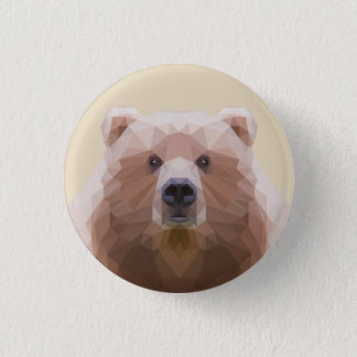 Low poly bear on badge 1 inch round button