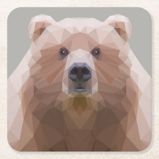 Low poly Bear paper coaster, grey background Square Paper Coaster