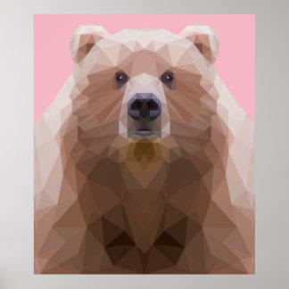 Low poly bear portrait poster