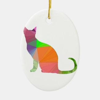 Low Poly Cat Silhouette Ceramic Ornament