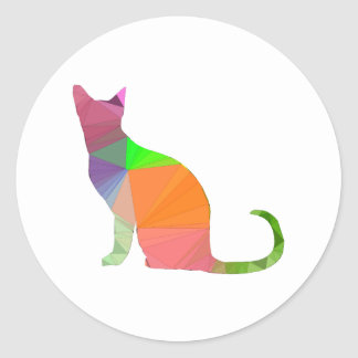 Low Poly Cat Silhouette Classic Round Sticker