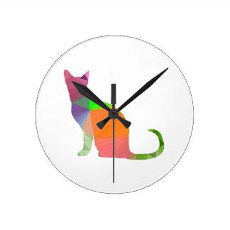 Low Poly Cat Silhouette Clocks