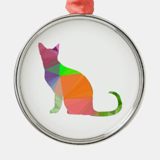 Low Poly Cat Silhouette Metal Ornament