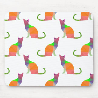 Low Poly Cat Silhouette Pattern Mouse Pad