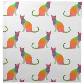 Low Poly Cat Silhouette Pattern Napkin
