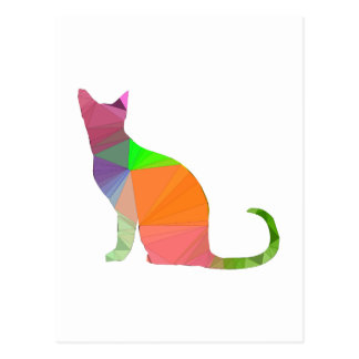 Low Poly Cat Silhouette Postcard