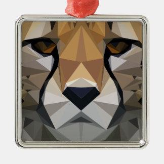 Low Poly Cheetah Metal Ornament
