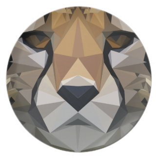 Low Poly Cheetah Plate