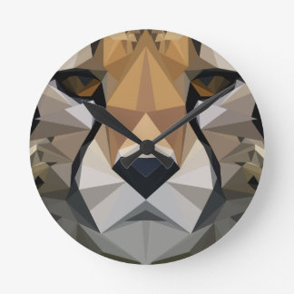 Low Poly Cheetah Round Clock