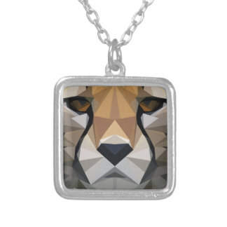 Low Poly Cheetah Silver Plated Necklace