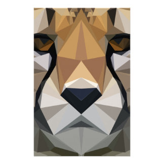 Low Poly Cheetah Stationery