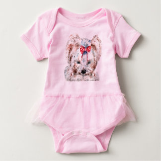 Low poly design Dog Baby Tutu Bodysuit