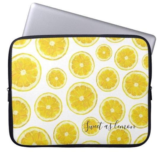 Low poly design lemon slice yellow laptop sleeve. laptop sleeve