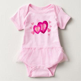 Low poly design pink Hearts Baby Tutu Bodysuit