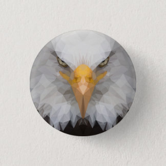 Low poly eagle badge 1 inch round button
