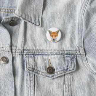 Low poly fox badge 1 inch round button