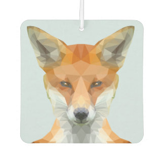 Low poly fox on blue/grey background air freshener