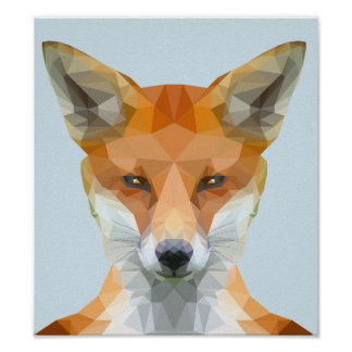 Low poly fox poster