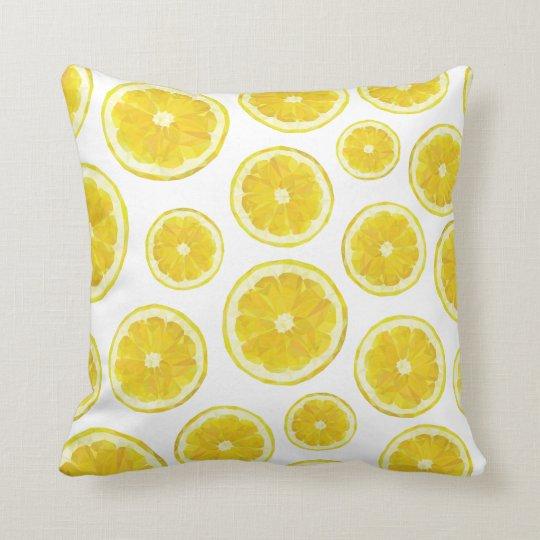 Low poly modern lemon slice fresh yellow pillow