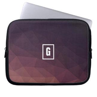 Low poly pink/violet/black initial laptop sleeve