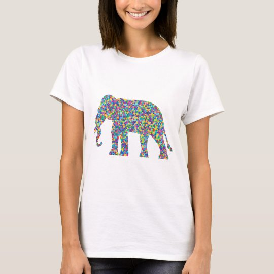 Low Poly Prismatic Elephant Silhouette T-Shirt