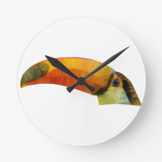 Low Poly Toucan Round Clock