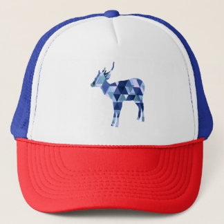 Low polygon blue dear trucker hat
