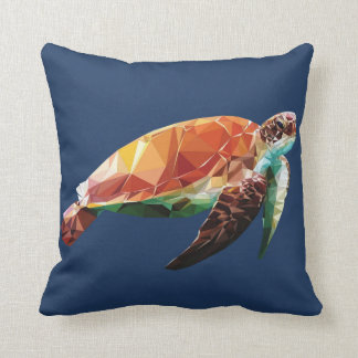 Low PolynTurtle Throw Pillow
