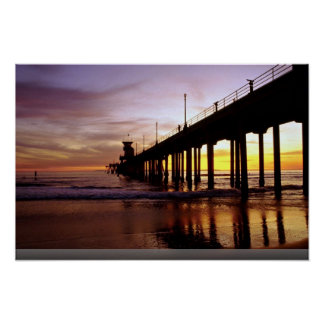 Low tide reflections at sundown, Huntington Beach Poster