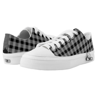 Low top Gingham Unisex Zipz Shoes Sneakers