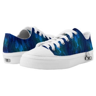Low Top Shoes with Blue and Green Digital Pattern