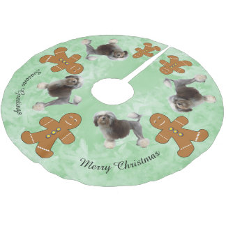 Lowchen and Gingerbred Man Brushed Polyester Tree Skirt