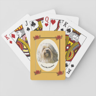 Lowchen on Autumn Floral Playing Cards