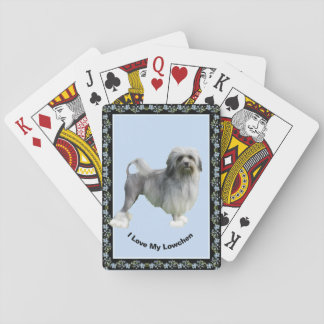 Lowchen on Black Blue Bells Poker Deck