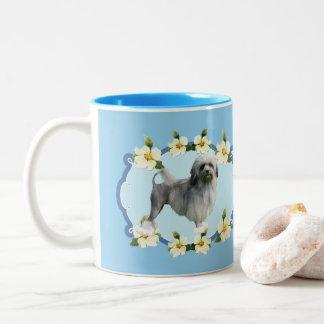 Lowchen on Blue Dogwood Two-Tone Coffee Mug