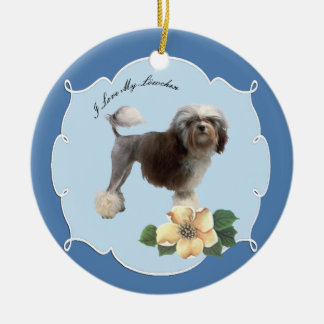 Lowchen on Blue with Dogwood Flowers Ceramic Ornament