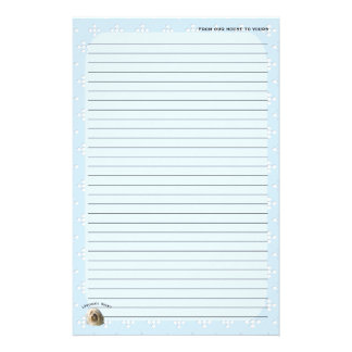Lowchen on Blue with White Diamond Stationery