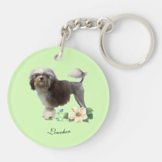 Lowchen on Light Green with Flower Keychain