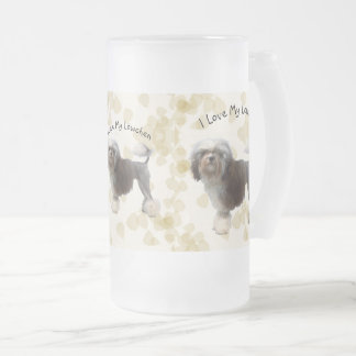 Lowchen on Tan Leaves Frosted Glass Beer Mug