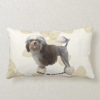 Lowchen on Tan Leaves Lumbar Pillow