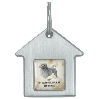 Lowchen on Tan Leaves Pet Name Tag