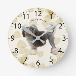 Lowchen on Tan Leaves Round Clock