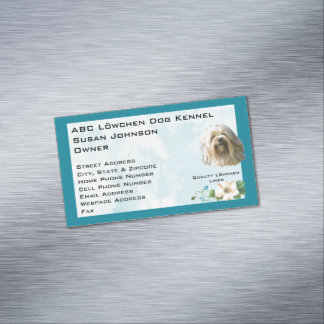 Lowchen on Teal Floral Magnetic Business Card