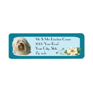 Lowchen on Turquoise Floral Return Address Label