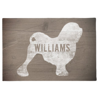 Lowchen Silhouette Personalized Doormat
