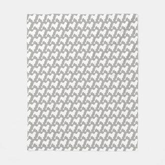 Lowchen Silhouettes Pattern Fleece Blanket