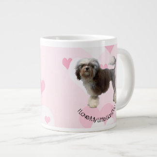 Lowchen White and Pink Hearts on Pink Large Coffee Mug