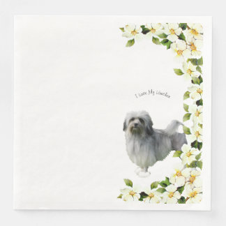 Lowchen with Dogwood Flowers Paper Napkins
